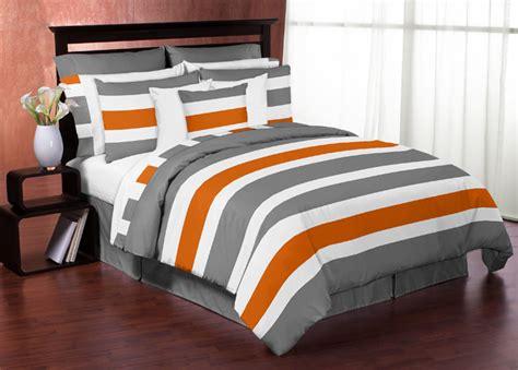 Grey White Stripe Bedding Range Duvet Set Or Cushion Or Bedspread Ebay Sweet Jojo Designs Grey Orange White Kid Boy Bedroom Bedding Set Ebay