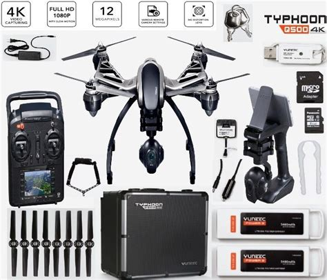 Yuneec Typhoon Q500 4k Drone With Bag 2 Batteries Wizard Kaos yuneec drone q500 4k rtf with st10 cgo3 2 battery