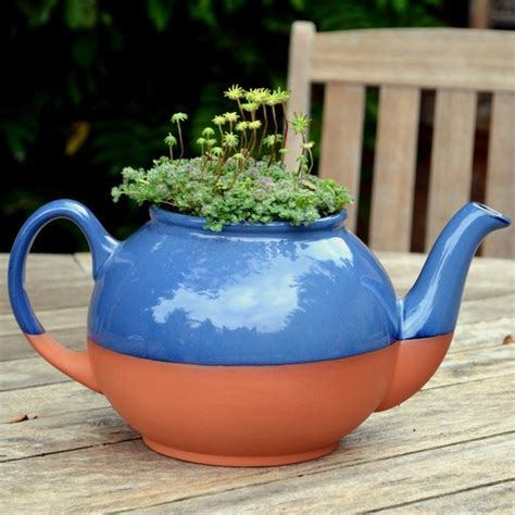Teapot Planters by Teapot Planter Large Blue Weston Mill Pottery Uk