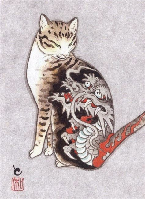 cats tattooing each other in surreal japanese ink wash
