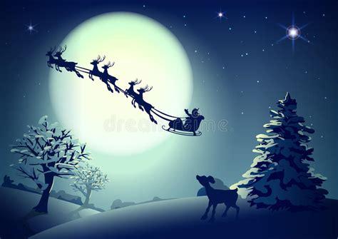 Imagenes De Santa Claus En La Luna   santa claus en trineo del trineo y del reno en fondo de la