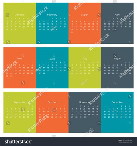Calendar For Next Year 2017 Hippie Colors Calendar For Next Year 2017 Stock Vector