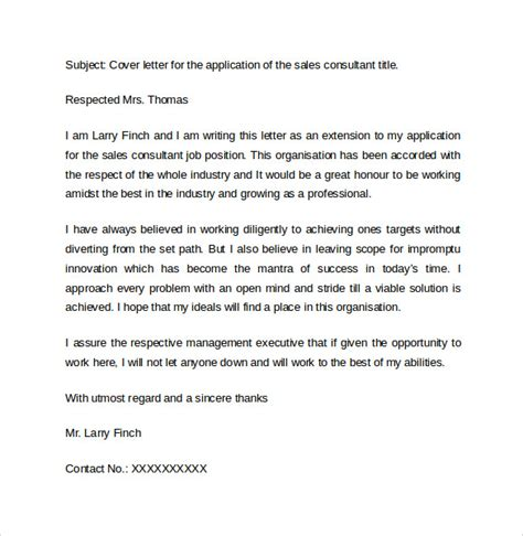 cover letter for sales consultant sle cover letter exles for sale 14 free