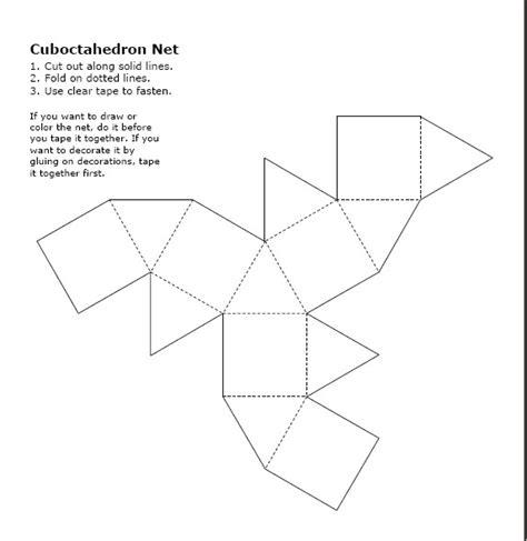 3d cube template cuboctahedron