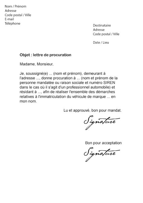 Modèle De Lettre De Procuration Banque Lettre De Procuration Carte Grise Mod 232 Le De Lettre