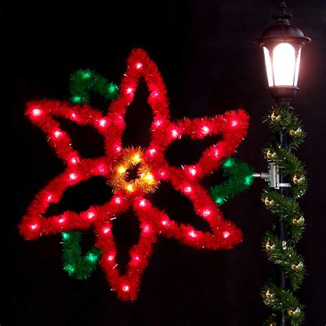 how to make a christmas yard poinsettia lighted outdoor decorations 4 poinsettia with garland