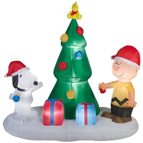 peanuts charlie brown snoopy tree christmas airblown