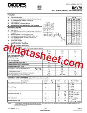 diodes inc bat54 7 f bav70 7 f 데이터시트 pdf diodes incorporated