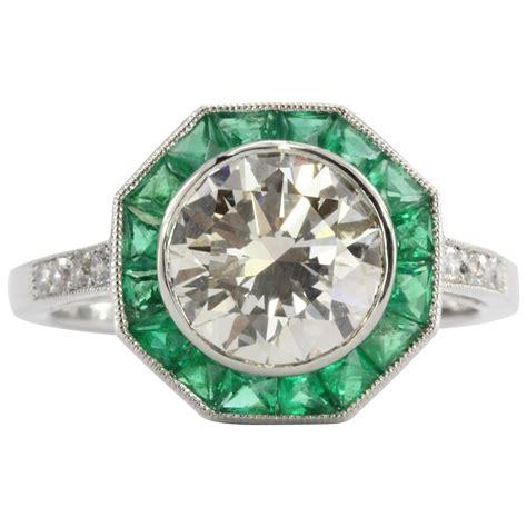 deco ring styles deco style 2 1 carat emerald platinum d