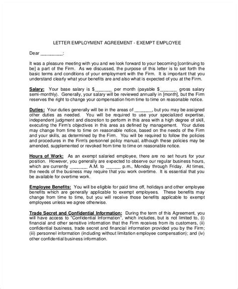 Letter Of Agreement To Work 31 Sle Agreement Letters