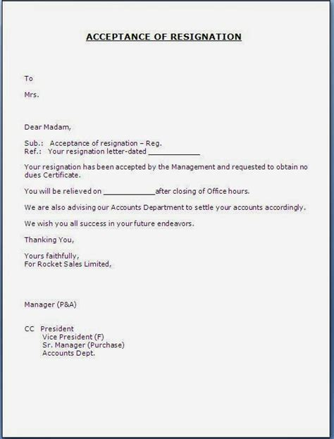 acceptance letter of resignation by employer acceptance of resignation letter from employee resume