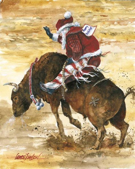 bull riding santa cowboy christmas western christmas christmas artwork