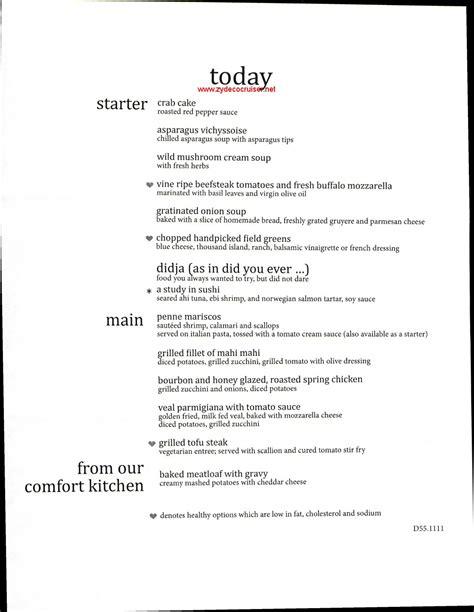 carnival elation mdr dinner menu 5