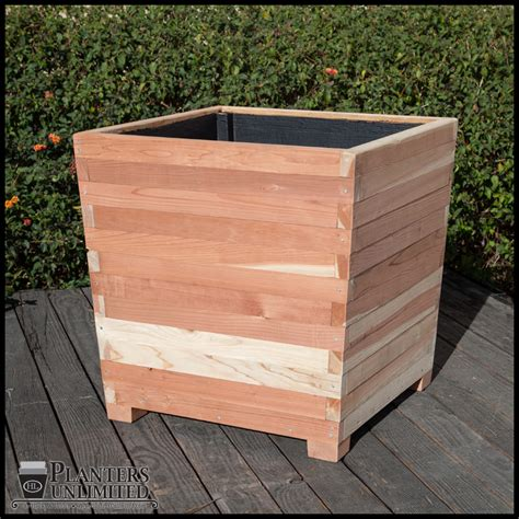 Foot Planter by Commercial Redwood Planters With Planters Unlimited
