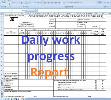 daily work progress report format excel templates