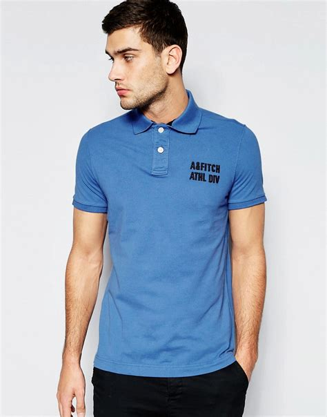 Polo Shirt Abercrombie abercrombie fitch abercrombie fitch polo shirt in slim fit with logo in blue at asos