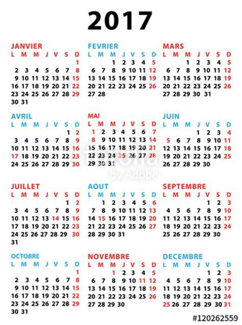 Calendrier 2017 Annuel Quot Calendrier 2017 Annuel Et Bleu En Fran 231 Ais Avec