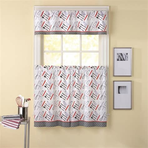 chef curtains chef cutlery window curtain set modern cafe diner decor