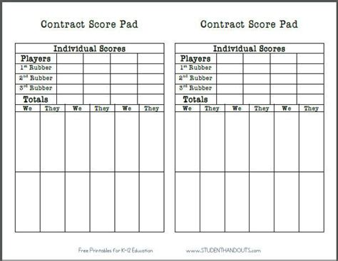 chicago bridge score cards templates bridge score sheets printable you get two score pads on