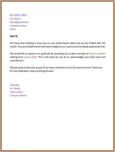 Raise Letter To Employee Template Sle Salary Increase Letter Template