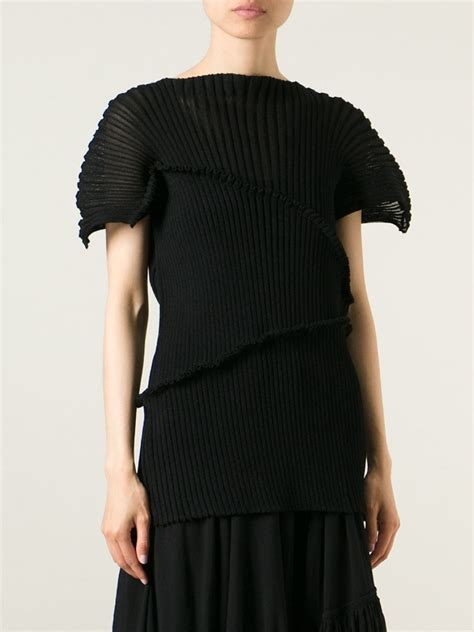 black knit top issey miyake ribbed knit top in black lyst