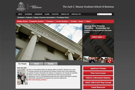 Belmont Mba Admissions by Belmont Massey Graduate School Of Business Website