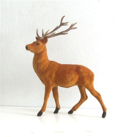 vintage flocked reindeer figure 10 quot large buck deer
