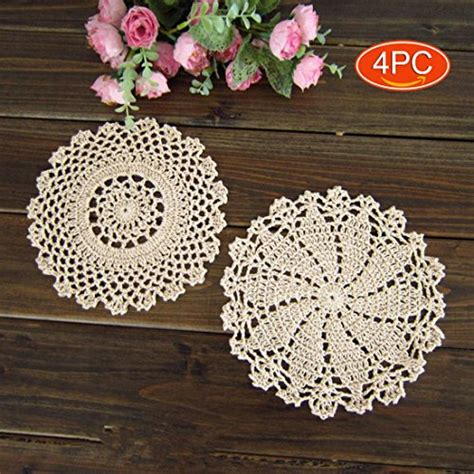 Doily Mix Pack elesa miracle 7 inch 4pc handmade crochet cotton lace table placemats doilies value pack