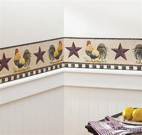 country kitchen wallpaper border primitive vintage and french country primitive rooster stars checkered