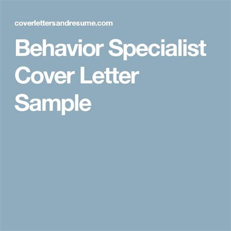 Behavior Specialist Cover Letter by Best 25 Letter Sle Ideas Only On Letter Format Sle Cover Letter Exles