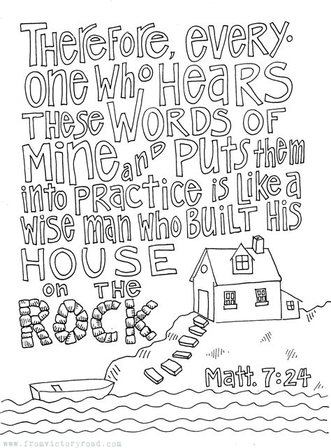 Matthew 7 Coloring Pages by Matthew 7 24 Coloring Page From Victory Road