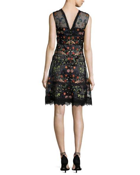 Maritza Dress elie tahari maritza sleeveless floral embroidered satin
