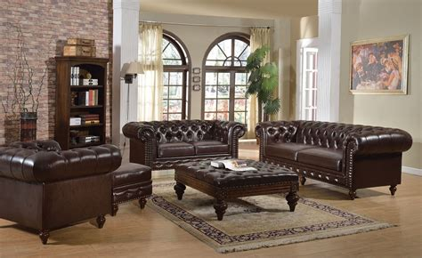 Tufted Living Room Furniture 5pc Brown Boned Leather Button Tufted Living Room Sofa Set