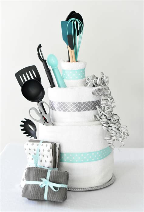 bridal shower gift idea towel cake fun squared