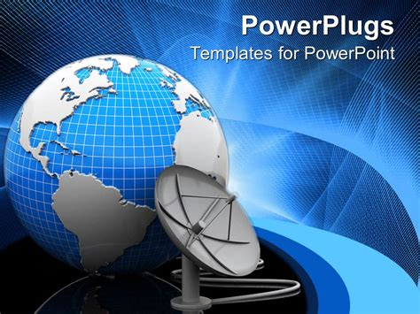Powerpoint Template A Satellite Dish Beside A Blue Satellite Ppt Template Free