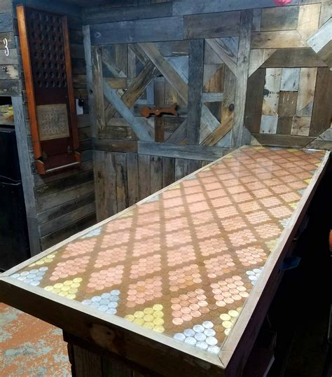 pallet bar top pallet bar featuring epoxy penny top 1001 pallets