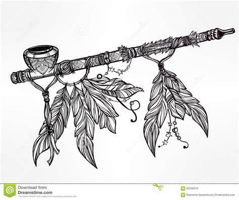 pagan indian smoking pipe of peace stock vector image
