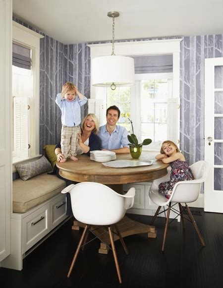 round table with banquette seating picket fence design why it works a family kitchen nook