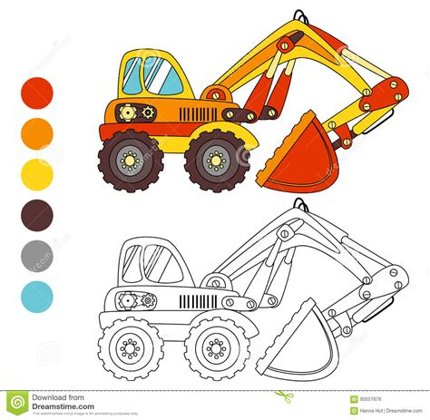 game truck layout coloring book excavator truck kids layout for game stock