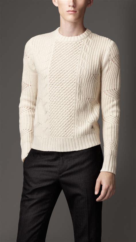 aran knit sweater burberry aran knit sweater in for lyst