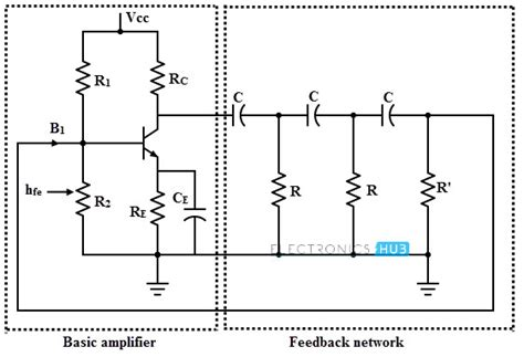transistor lifier phase shift rc oscillator using op bjt