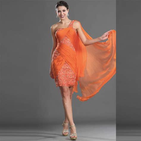 Sale Mini Dress Brukat Orange on sale mini bling rhinestone beaded ruffles orange chiffon sheath one shoulder custom made