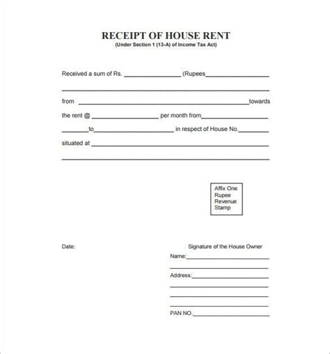 Rent Receipt Template Australia by Rent Receipt Template 9 Free Word Excel Pdf Format