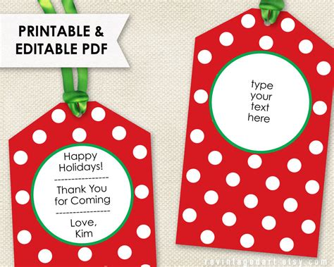 printable christmas tags editable holiday tags pdf
