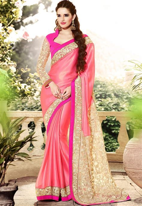 Old Rose Faux Crepe #Saree with Blouse   Best Selling