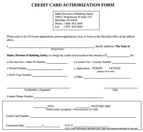 sle credit card authorization form custom card