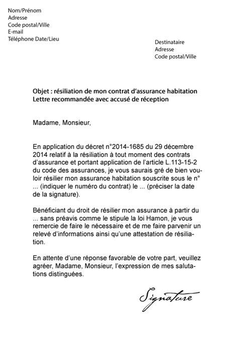 Modele Resiliation N Assurance Document Modele Lettre Resiliation Assurance Loi Hamon Document