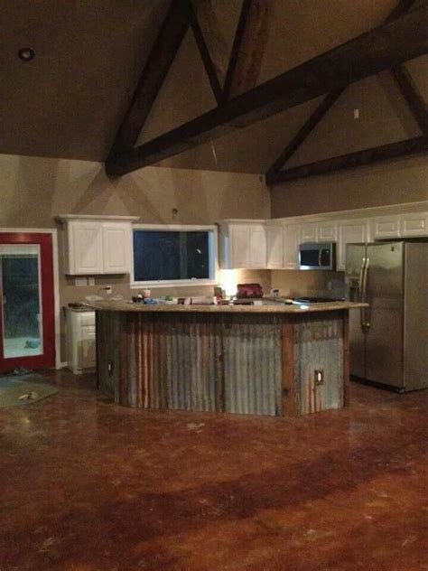 barn wood kitchen island for the house pinterest rustic island with metal barn siding kitchen pinterest