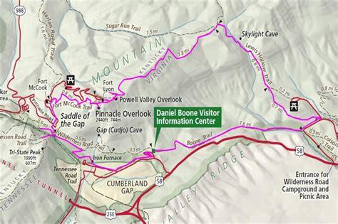 kentucky map cumberland gap hikin cumberland gap national historical park va