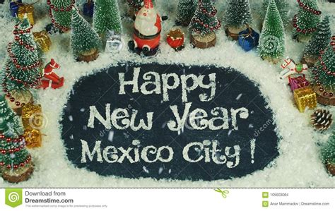 stop motion animation of happy new year mexico city stock